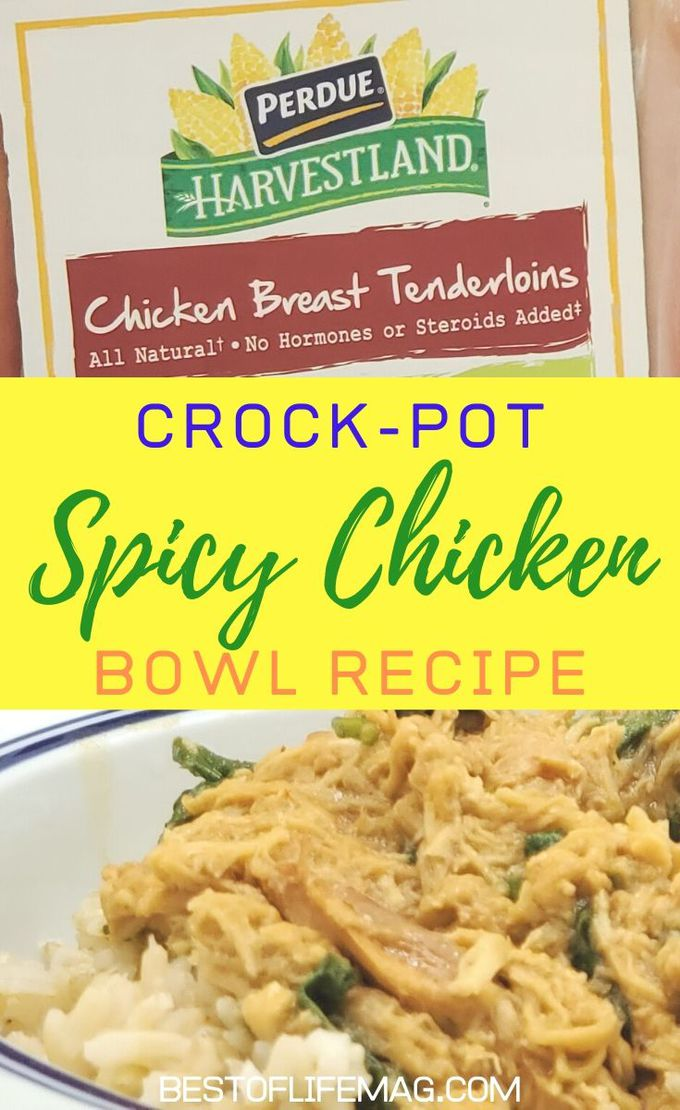 This crock-pot spicy chicken bowl recipe is made with peanut sauce and spinach making it a healthy and easy dinner any night of the week. Easy Crock-Pot Recipes | Healthy Crock-Pot Recipes | Slow Cooker Recipes | Chicken Bowl Recipes | Dinner Recipes with Chicken | Meal Planning Recipes with Chicken