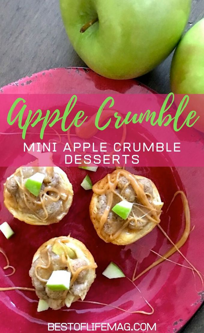 Mini Apple Crumble Cups are so easy to make and they're delicious! They'll be your go-to dessert option for parties, weeknight desserts, holiday gatherings, and family events. Holiday Recipes | Fall Recipes | Apple Pie Recipes | Baked Apple Recipe | Dessert Recipes for Fall | Holiday Dessert Recipes #apple #recipe