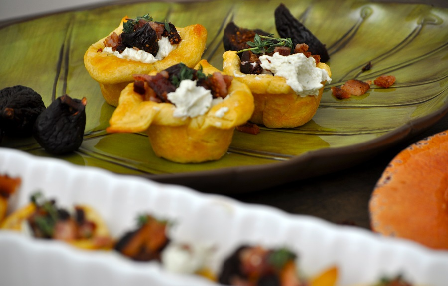 Using Pillsbury Crescent Rolls you can make pastry cups and fill them with this lovely goat cheese, fig, bacon, and jalapeno topping!
