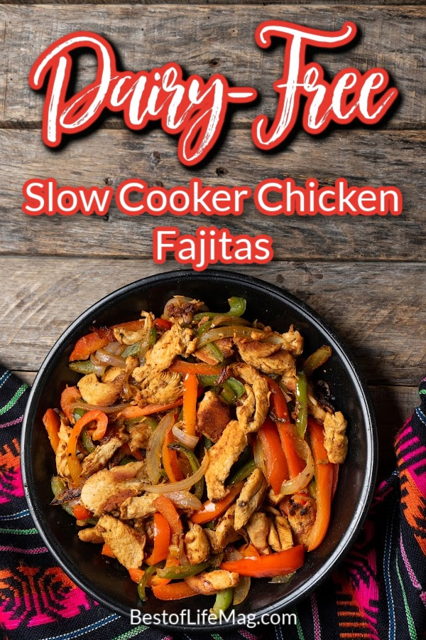These dairy free slow cooker chicken fajitas have an extra kick of flavor, so you won't feel like you are missing a thing without cheese! Healthy Crockpot Recipes | Slow Cooker Recipes | Dairy Free Crockpot Recipes | Chicken Fajitas Recipe | Healthy Dinner Recipe | Crockpot Recipes with Chicken | Dairy Free Mexican Recipes | Healthy Fajita Ideas #crockpotrecipes #dairyfreerecipes via @amybarseghian