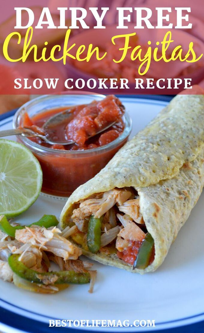 These dairy free slow cooker chicken fajitas have an extra kick of flavor so you won't feel like you are missing a thing without cheese! Healthy Crockpot Recipes | Slow Cooker Recipes | Dairy Free Crockpot Recipes | Chicken Fajitas Recipe | Healthy Dinner Recipe #crockpot #dairyfree