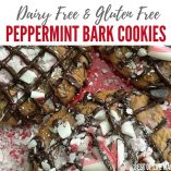 Make the holidays memorable with these gluten free and dairy free peppermint bark cookies with chocolate chips! Soft and moist, they will be a hit! Special Christmas Cookies | Fancy Christmas Cookies | Christmas Flavored Cookies | Dairy Free Christmas Cookies | Food Allergy Christmas Cookies