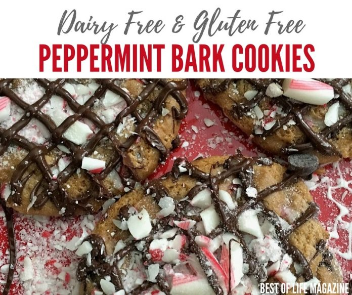 Make the holidays memorable with these gluten free and dairy free peppermint bark cookies with chocolate chips!