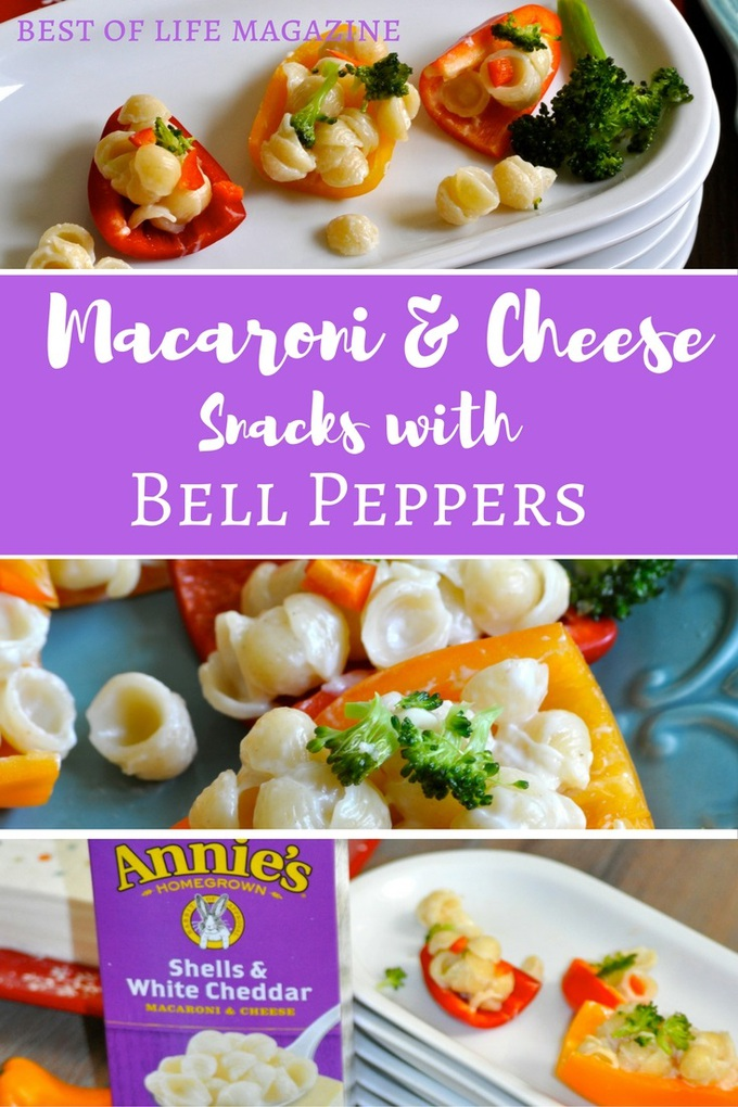 Macaroni and cheese snacks with bell peppers make for a crisp and healthy snack everyone will enjoy!