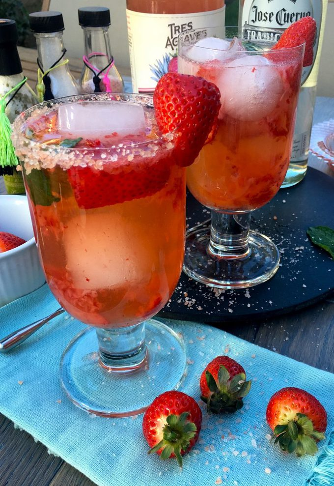 This clean tasting light strawberry margarita recipe will let you enjoy your favorite beverage without all the added calories!