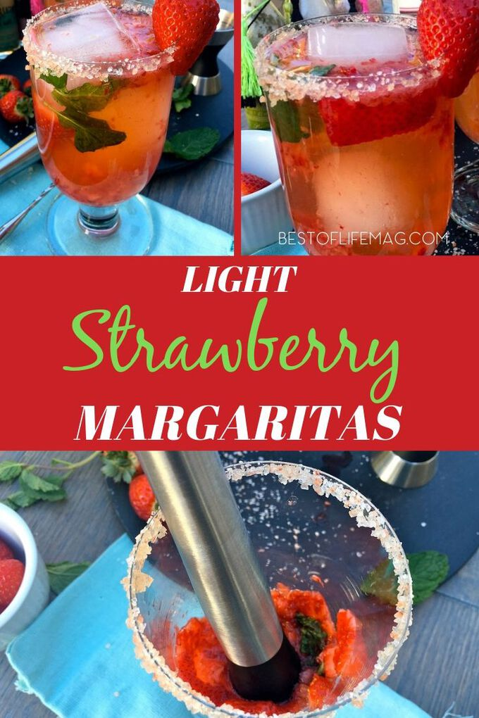 This clean tasting light strawberry margarita recipe will let you enjoy your favorite cocktail recipe without all the added calories! Margarita Ideas | Tequila Recipes | Fruity Margaritas | Happy Hour Recipes | Cocktail Recipes | Cocktail Recipes for a Crowd | Party Recipes #margaritas #cocktail