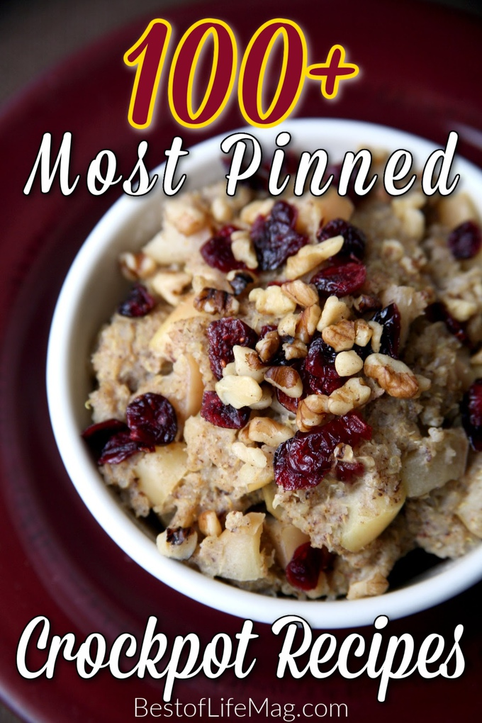 The most pinned crockpot recipes are the best recipes that can help you save time, eat healthy, and eat delicious meals while saving time with meal planning and preparation. Slow Cooker Recipes   Crockpot Breakfast Recipes   Crockpot Dinner Recipes   Crockpot Chili Recipes   Crockpot Dessert Recipes #crockpot #recipes via @amybarseghian