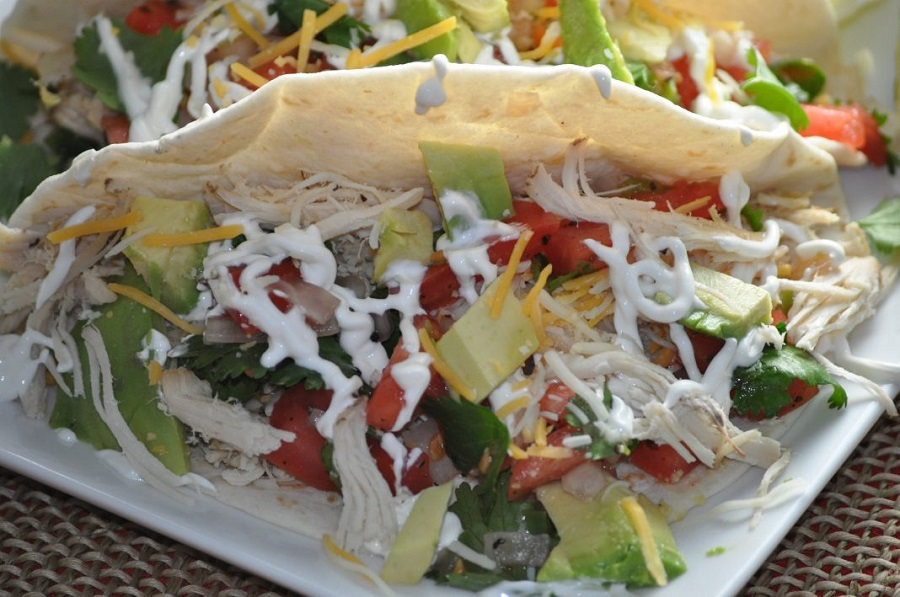 Most Pinned Crockpot Recipes Close Up of Chicken Tacos