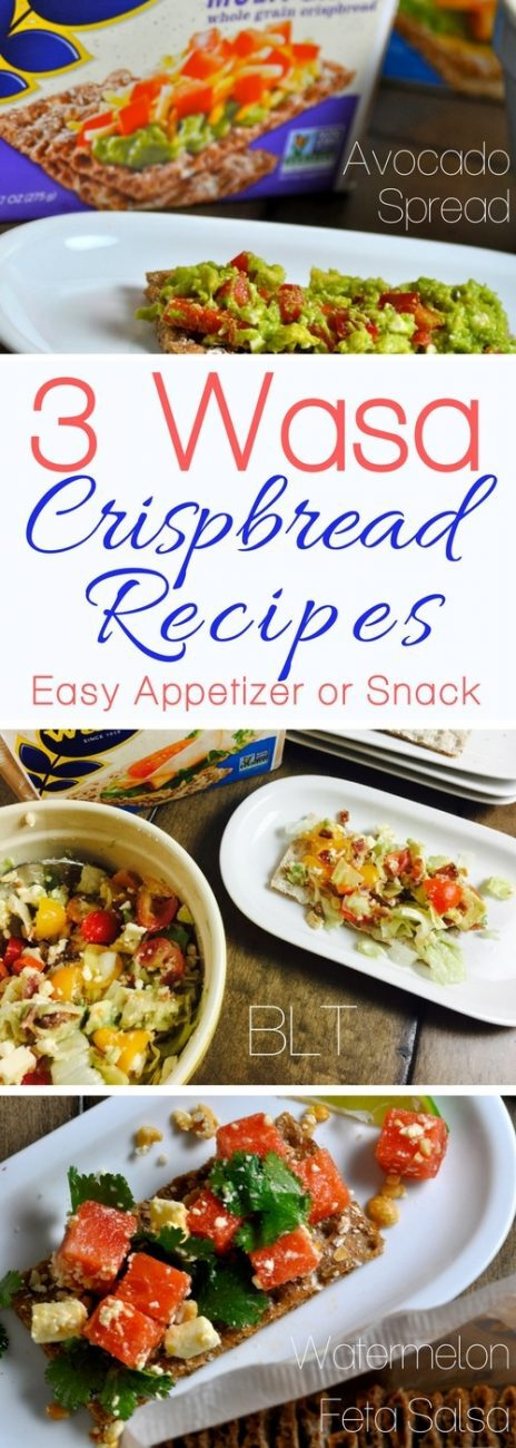 Wasa Crispbread recipes make for perfect snacks and appetizers!  Our watermelon and feta salsa, BLT, and avocado spread recipes are delicious and satisfy kids and adults. Healthy Snacks | Healthy Recipes | Wasa Crispbread Snacks | Recipes for Kids | Party Recipes | Appetizer Recipes #recipes  via @amybarseghian