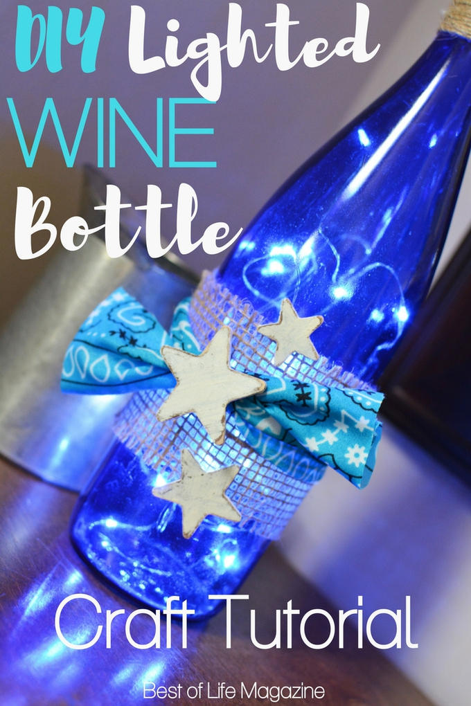 When you learn how to make a DIY Lighted Wine Bottle craft you can turn your love of wine in a display to enjoy all day long. DIY Crafts | DIY Ideas | DIY Wine Bottle Ideas | Wine Bottle Crafts | At-Home Crafts | Light Up Wine Bottle DIY #DIY #crafts via @amybarseghian