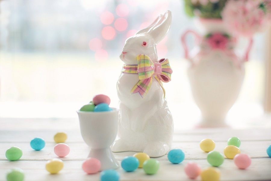 Dairy Free Easter Candy Recipes Porcelain Bunny with Candy Eggs All Around It