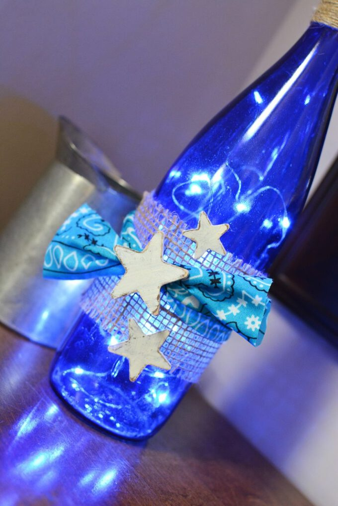 How to make a diy lighted wine bottle craft best of life for How to make wine bottle lights