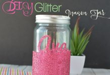 Add some sparkle to any room with this fun DIY Glitter Mason Jar! It can hold pencils, tealight candles, or just about anything you want!