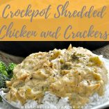 This Shredded Chicken and Crackers Recipe with Ritz crackers for the crockpot tastes great, is easy to make, AND requires five ingredients or less. Crockpot Recipes | Chicken and Crackers Recipe | Healthy Recipes | Family Recipes | Dinner Recipes