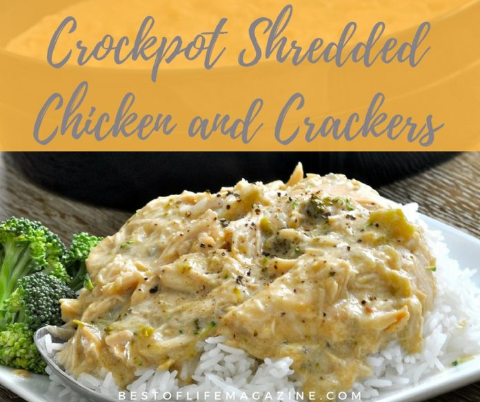 This shredded chicken and crackers recipe for the crock pot tastes great, is easy to make, AND requires five ingredients or less.