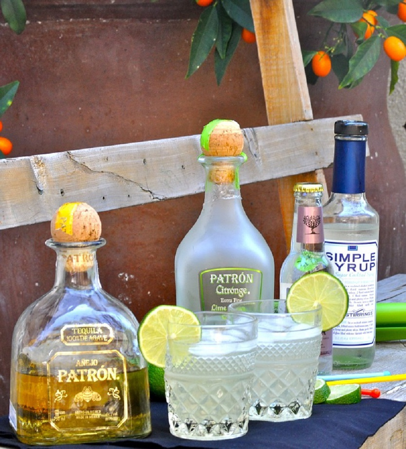 Patron Skinny Margarita recipe Close Up of Ingredients on a Table