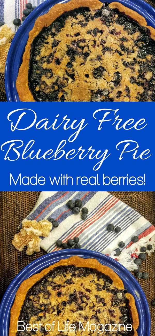 There is nothing better than an easy, warm, fresh, blueberry pie recipe; this pie recipe also happens to be dairy free! Dairy Free Pie Ideas | Pie Recipes | Dairy Free Recipes | Holiday Recipes | Dessert Recipes #dairyfree #recipe
