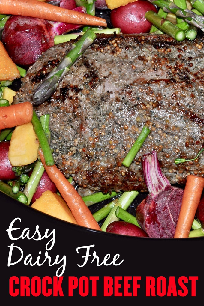 Enjoy this easy crock pot beef roast with vegetables any night of the week. It's perfect for food allergies as this is a dairy free crock pot roast recipe. Crockpot Roast Beef Recipe | Slow Cooker Recipes | Beef Recipes | Crock Pot Recipes | Crockpot Ideas | Easy Recipes | Meal Prep Ideas #crockpot #beef