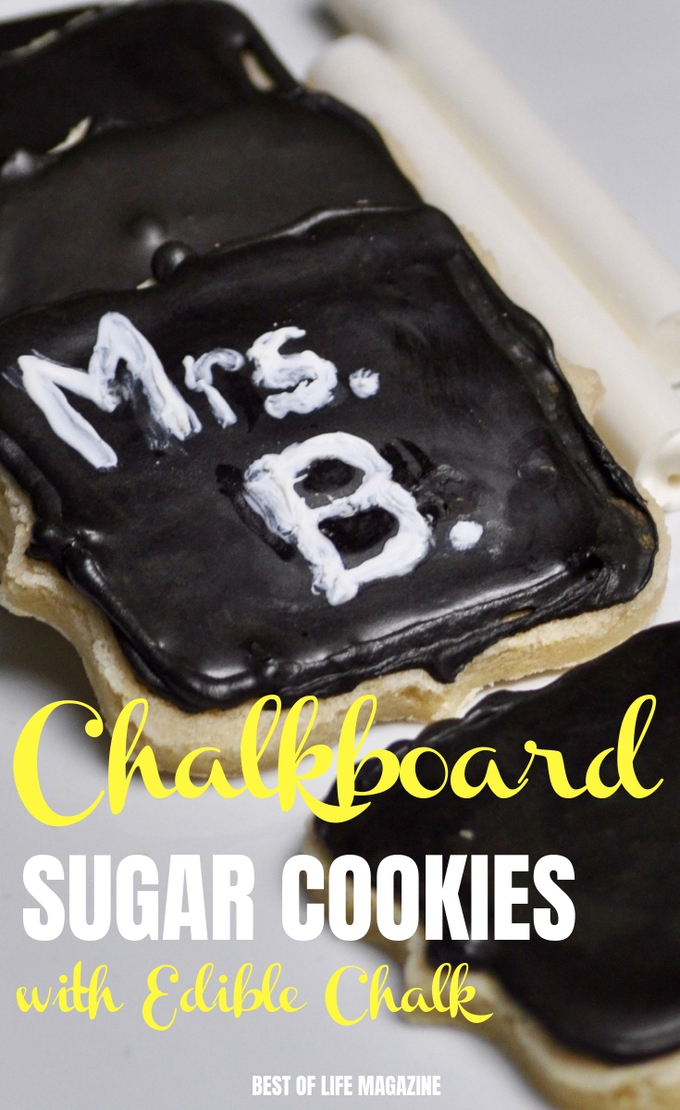 Make these chalkboard cookies with edible chalk to express your feelings on any holiday. They make the perfect teacher gift from your child, too! Crafts for Kids | Activities for Kids | Halloween Recipes| Holiday Recipes | DIY Food | Back to School | Cookie Recipes | Back to School| Dessert Recipes| Recipe Ideas for Kids #recipes