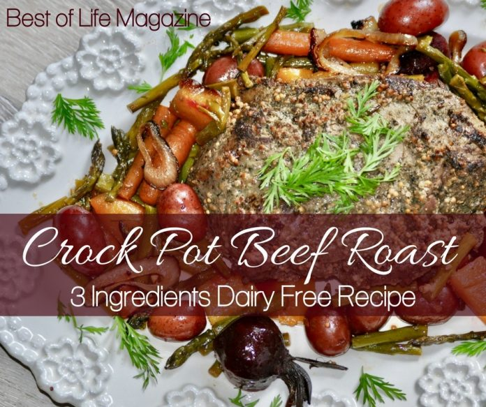 Enjoy this easy crock pot beef roast with vegetables any night of the week. It's perfect for food allergies as this is a dairy free crock pot roast recipe.