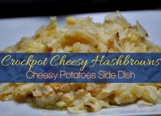 This recipe for Crockpot cheesy hashbrowns is the perfect cheesy potatoes side dish. Plus, they're so easy to make you'll love making them too!