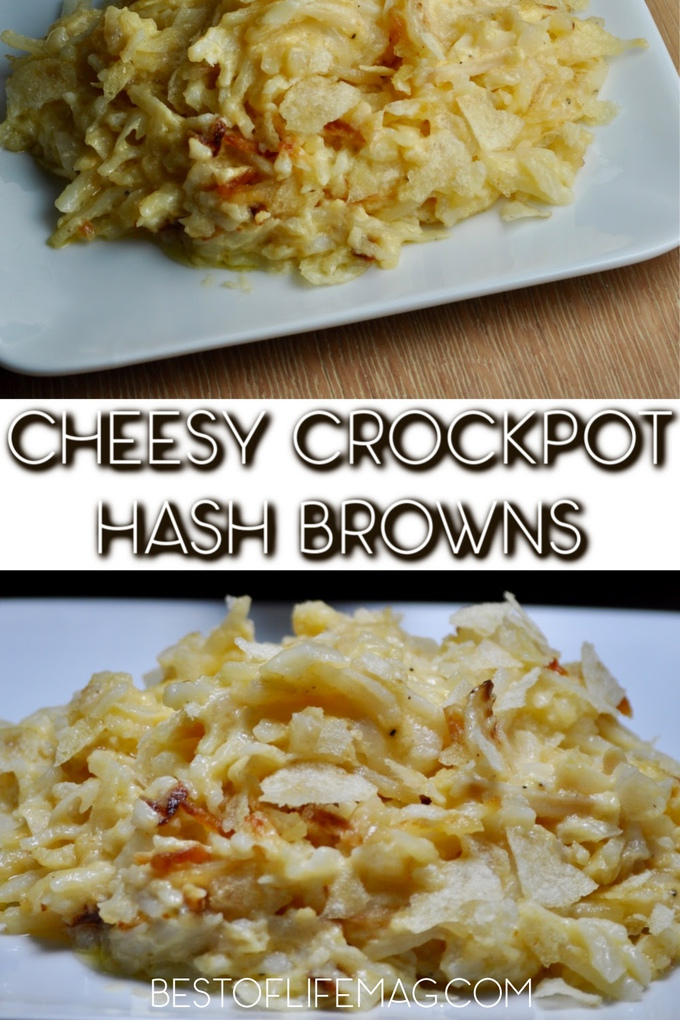 This recipe for Crockpot cheesy hashbrowns is the perfect cheesy potatoes side dish. Plus, they're so easy to make you'll love making them too! Breakfast Recipes | Healthy Recipes | Side Dish Recipes | Holiday Recipes #breakfast #recipes