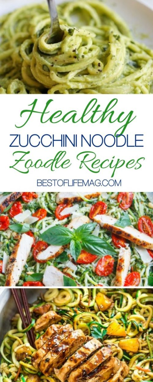 Zucchini noodle recipes are a great way to eat healthier, feel better and still enjoy those usually heavy noodle dishes without the guilt. Low Carb Diet | Low Carb Recipes | Healthy Recipes | Zoodles Recipes #zoodles #recipes