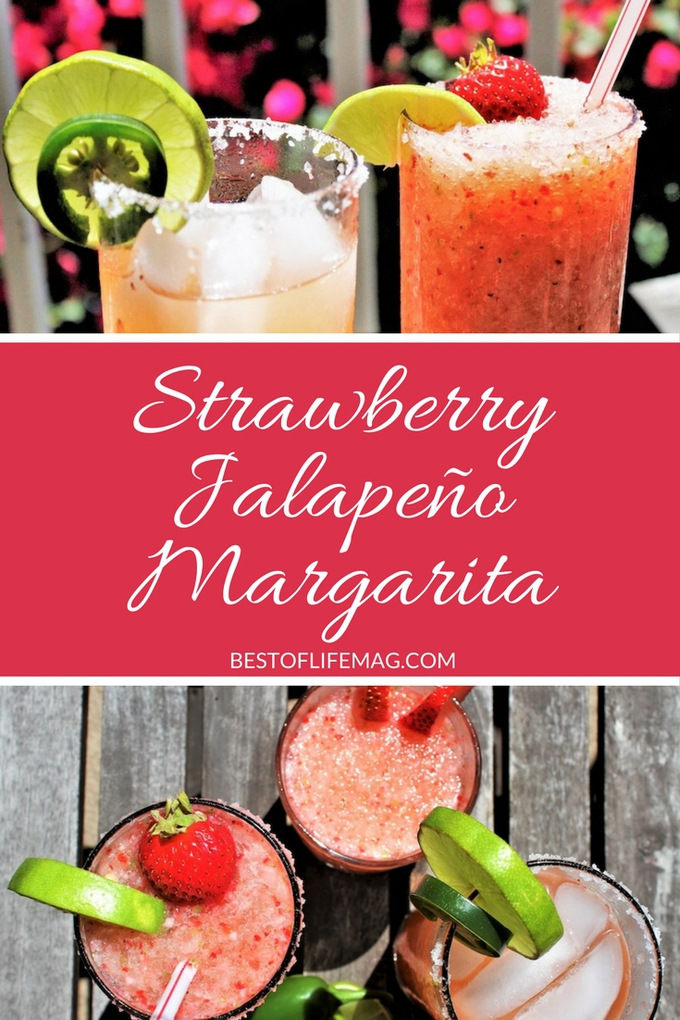 This strawberry jalapeño margarita is sweet, spicy, and totally refreshing. If you love margaritas this tequila cocktail needs to be added to your regular list of recipes! Margarita Recipes | Fruity Margarita Recipes | Spicy Margarita Recipe #margarita #cocktail