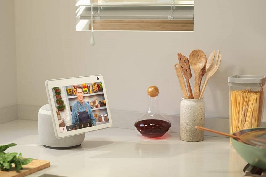 Amazon Echo Show Next to a Stove with a Pan on it