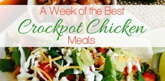 For one whole week, you can use different crockpot chicken recipes to fill out your week meal plan and have the answer to what's for dinner? Crockpot Chicken Recipes | Crockpot Meal Plans | Chicken Recipes | Chicken Meal Plans | Meal Planning Recipes | Weekly Meal Plans with Chicken