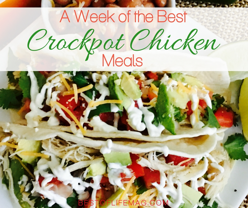 For one whole week, you can use different crockpot chicken recipes to fill out your week meal plan and have the answer to what's for dinner? Crockpot Chicken Recipes   Crockpot Meal Plans   Chicken Recipes   Chicken Meal Plans   Meal Planning Recipes   Weekly Meal Plans with Chicken