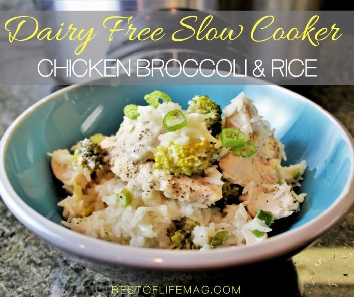Enjoy this slow cooker chicken broccoli and rice casserole recipe on your dairy free diet and add it to your weekly crockpot chicken meal plan for easy weeknight meals.  Dairy Free Recipes | Crockpot Chicken and Rice Casserole | Crockpot Chicken and Broccoli | Slow Cooker Casserole Recipes | Crockpot Casserole Recipes | Slow Cooker Rice