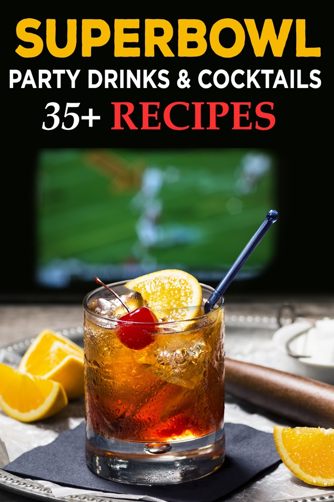 Paired with great food, these game day and Super Bowl party drinks and recipes will keep your party festive for everyone. House Party Drinks | Cheap Party Drinks | Alcoholic Party Punch for a Crowd | Party Drink Ideas for Adults #superbowl #recipes via @amybarseghian