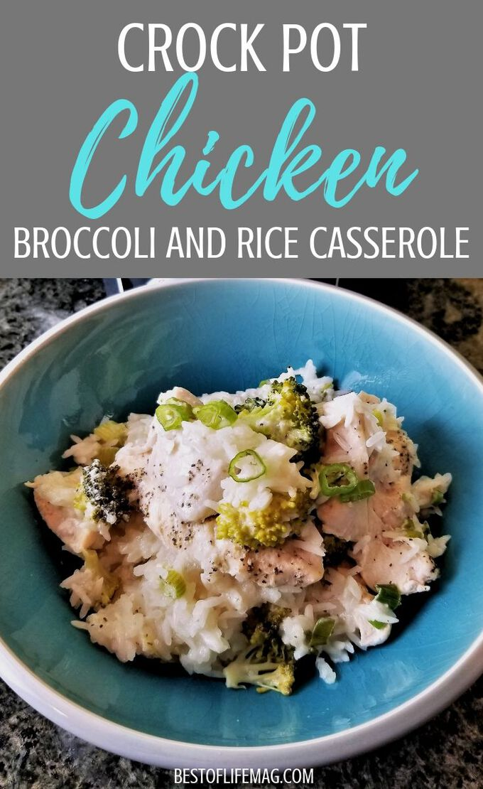 Enjoy this slow cooker chicken broccoli and rice casserole recipe on your dairy free diet. It takes just minutes to prep in your crock pot so it's easy to add to your weekly crockpot chicken meal plan for easy weeknight meals.  Casserole Recipes | Crock pot Recipes | Crockpot Chicken Recipes | Crockpot Meal Plan | Dairy Free Recipes with Chicken | Crockpot Casseroles