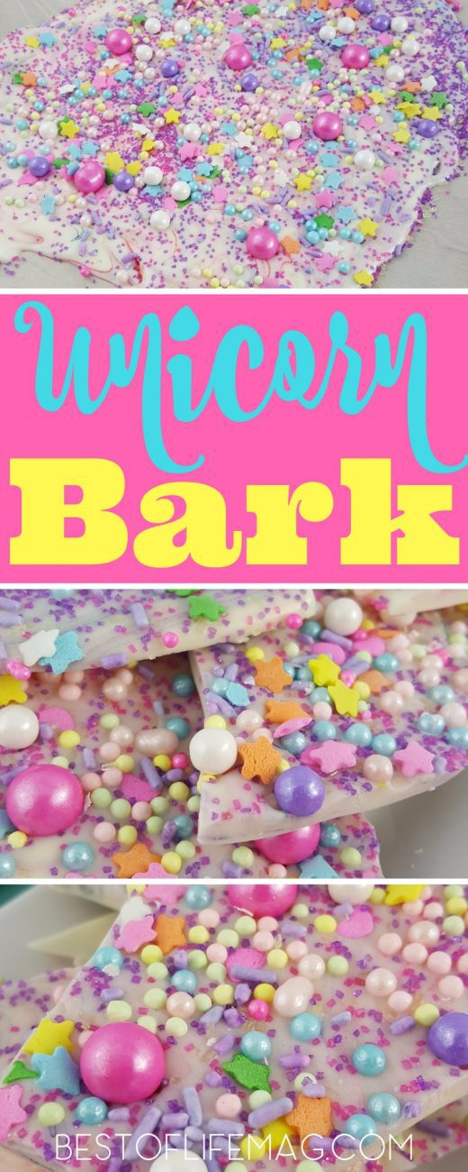 Make this unicorn bark recipe with your children for fantasy filled fun! Candy bark also makes a great party favor or small gift for friends and teachers. Unicorn Bark Video | Candy Bark Video | Recipes for Kids | Unicorn Party | Unicorn Recipe | Unicorn Food via @amybarseghian