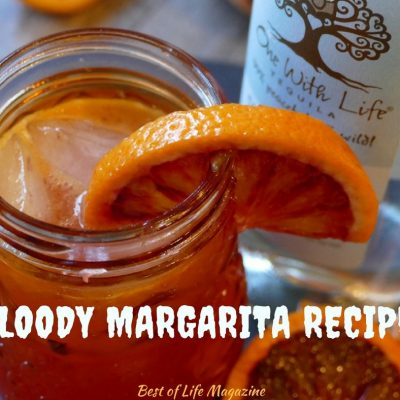 This bloody margarita cocktail recipe is perfect for Halloween!  The added flavor from the Patron Mango Liqueur makes offers a unique twist. Margarita Recipes | Blood Orange Cocktails | Blood Orange Margarita Recipes | Halloween Drink Recipes | Halloween Tequila Recipes | Tequila Cocktails