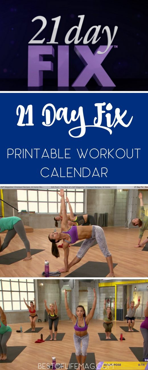 21 Day Fix Printable Workout Calendar - The Best of Life ...