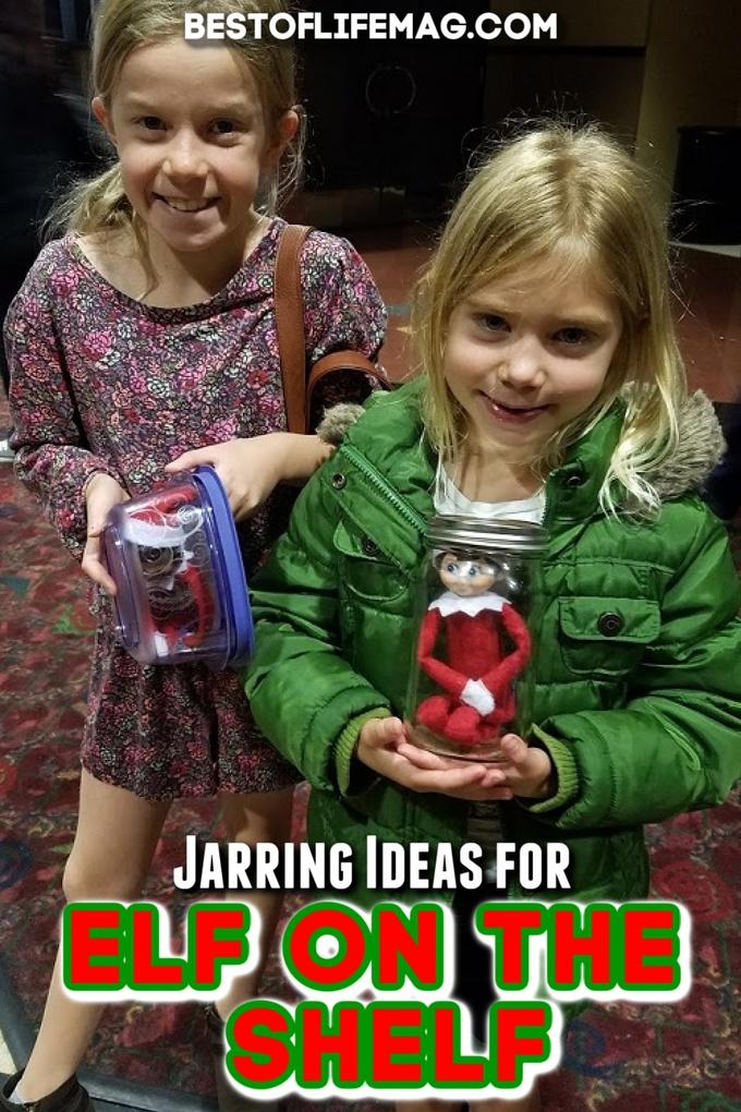 Carry your Elf on the Shelf with you with these fun and creative Elf on the Shelf Jar Ideas. Elf on the Shelf Ideas | Creative Elf on the Shelf Ideas | Things to Do with your Elf on the Shelf | Elf on the Shelf Ideas Little Kids via @amybarseghian
