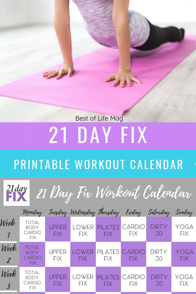 photo about 21 Day Fix Workout Schedule Printable identified as 21 Working day Maintenance Printable Work out Calendar - The Ideal of Existence