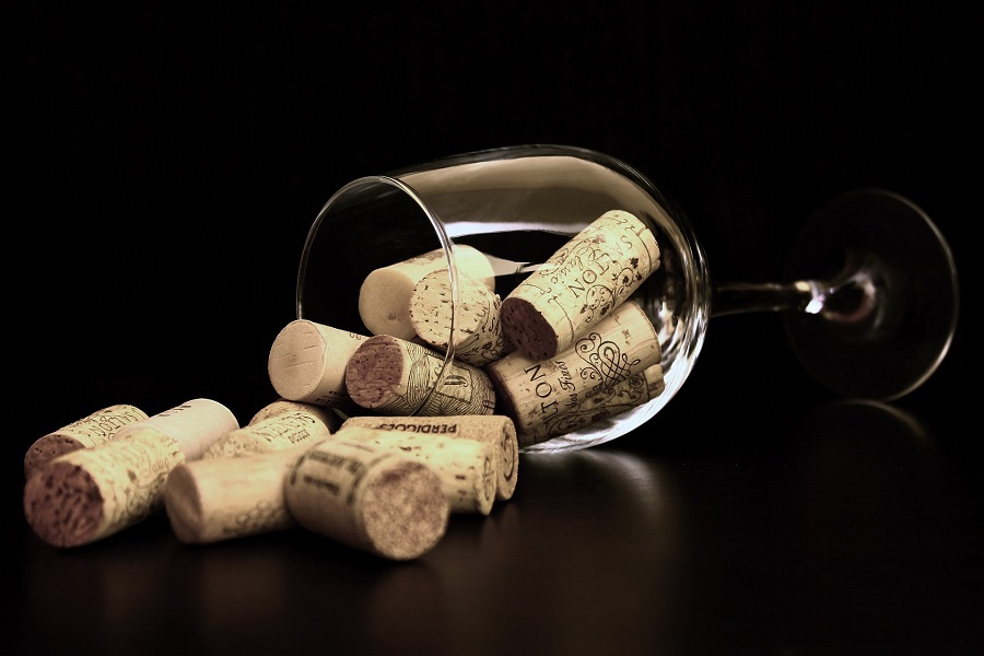DIY Wine Gifts for Women Close Up of a Wine Glass Filled with Corks