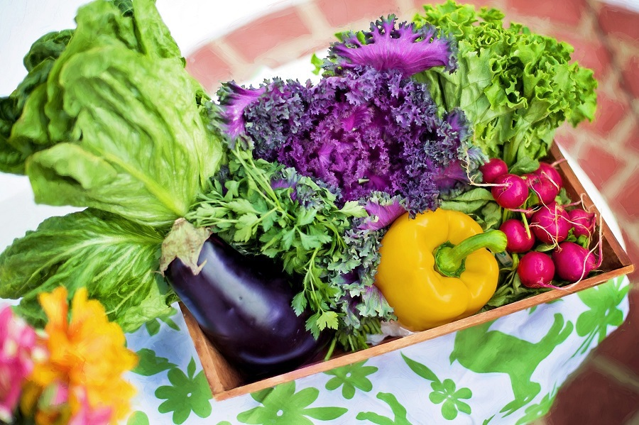 2B Mindset Veggies Most Overhead View of a Basket Filled with Veggies