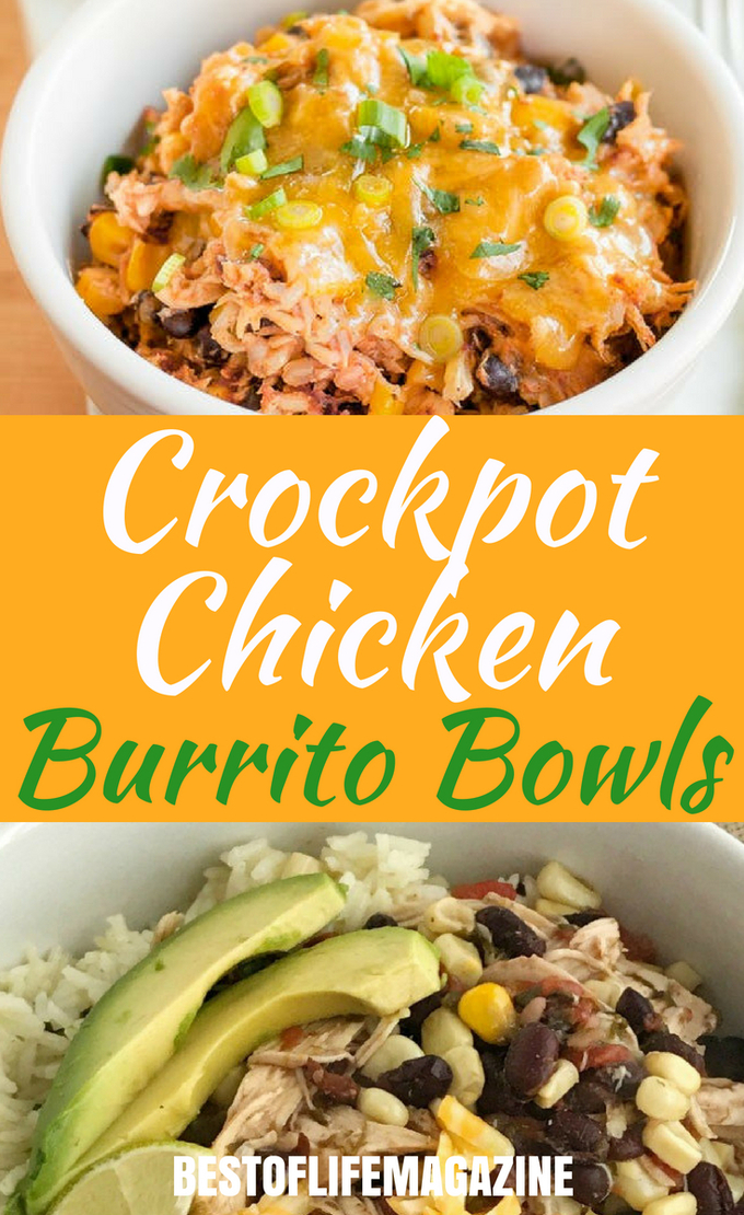 Use crockpot chicken burrito bowl recipes to feed your whole family with little to no effort making weekly meal planning a breeze. #crockpotrecipes #crockpots #burritobowls | Chicken Burrito Bowl Recipes | Family Crockpot Recipes | Crockpot Recipes for Families | Crockpot Burrito Bowl Recipes for Families