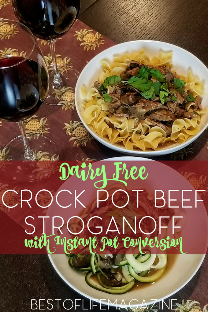 Dairy free dieters and allergy sufferers rejoice; this crock pot dairy free beef stroganoff recipe is made for you and so easy to add to your weekly meal plan. Plus, it comes with an Instant Pot conversion!  Dairy Free Crockpot Recipes | Dairy Free Instant Pot Recipes | Easy Instant Pot Recipes | Easy Crockpot Recipes #dairyfree #crockpot #InstantPot #stroganoff via @amybarseghian