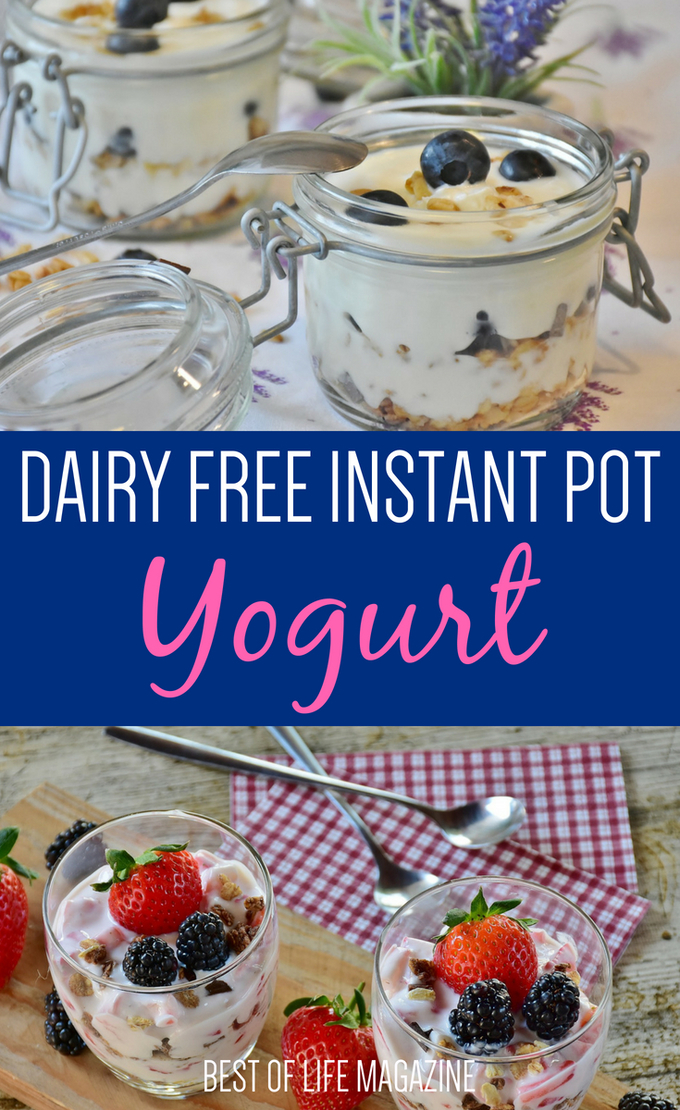 These dairy free Instant pot yogurt recipes are so delicious you won't even miss the dairy. They are perfect for a healthy snack throughout your day. #dairyfree #instantpot #recipes | Dairy Free Recipes | Instant Pot Recipes | Dairy Free Yogurt Recipes | Instant Pot Snack Recipes