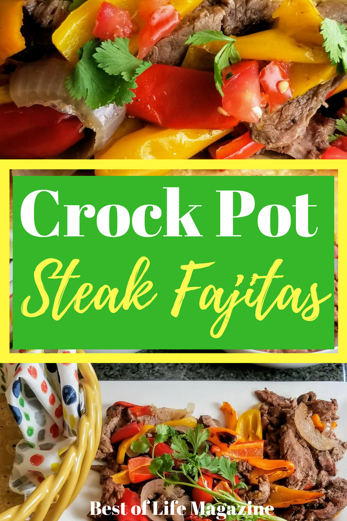 This easy crockpot steak fajitas recipe is perfect to make on those busy days when time is short. Plus, it is healthy making it an easy choice for your fit lifestyle. Crock Pot Recipes | Slow Cooker Recipes | Healthy Recipes | Healthy Crockpot Recipes | Low Carb Recipes #Fajitas #MexicanRecipes #recipes via @amybarseghian