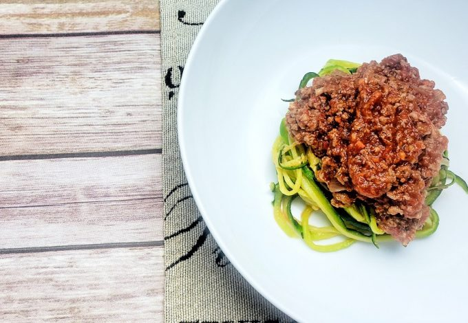 An entire plate of this hearty zoodle and meat sauce recipes contains ZERO grains which means it's a filling meal without the carb bloat! Zoodles Recipe | Healthy Meat Sauce Recipe | Healthy Recipe | Easy Zoodles Recipe #zoodles #recipes #weightloss #lowcarb