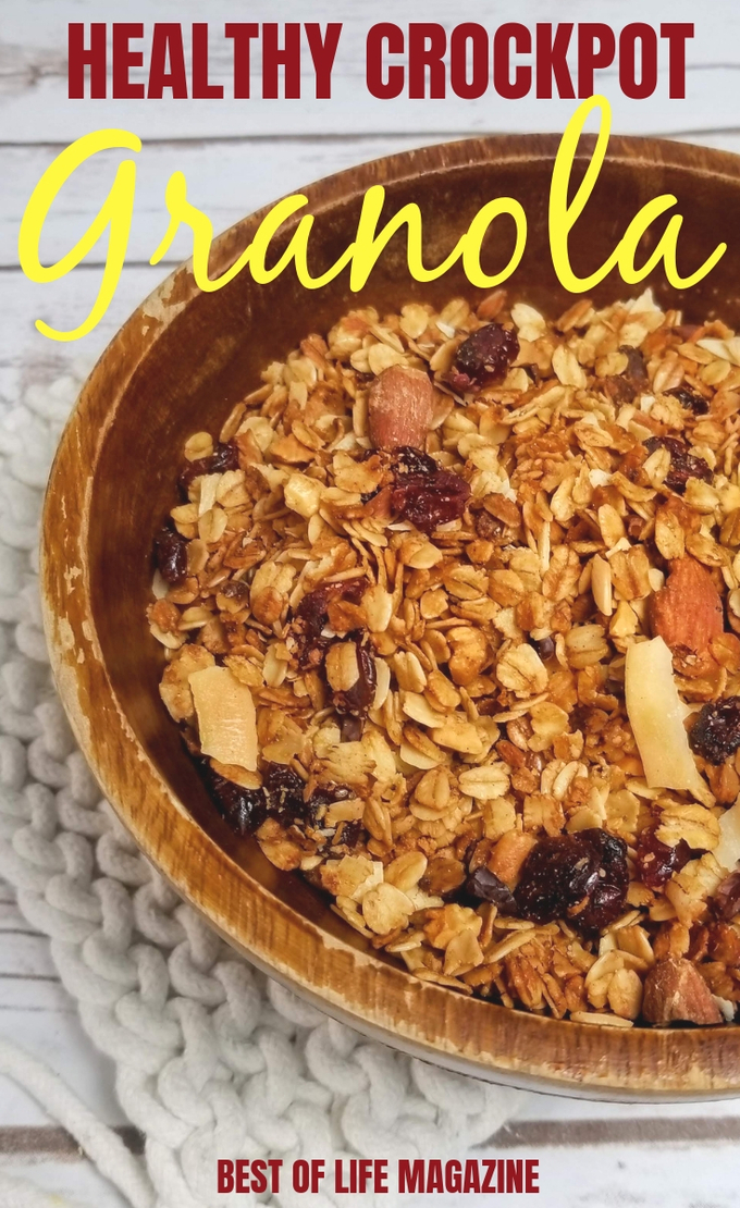 Make your own healthy crockpot granola recipe at home. This slow cooker granola recipe is gluten free and vegan free, too, making it an allergy friendly recipe. Healthy Crockpot Ideas | Easy Crockpot Recipes | Easy Granola Recipe | Vegan Recipes #crockpot #vegan