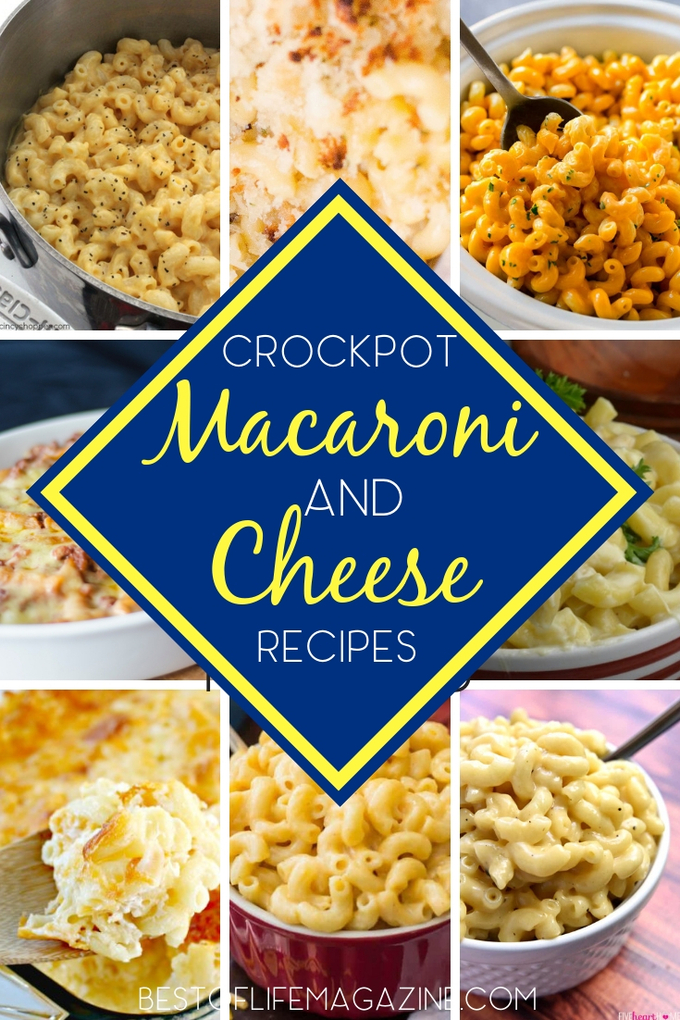 """Easy macaroni and cheese crockpot recipes...Just the mention of the rich and creamy comfort dish, more lovingly called """"Mac-n-cheese"""" is enough to bring smiles to a hungry crowd. Mac and Cheese Recipes 