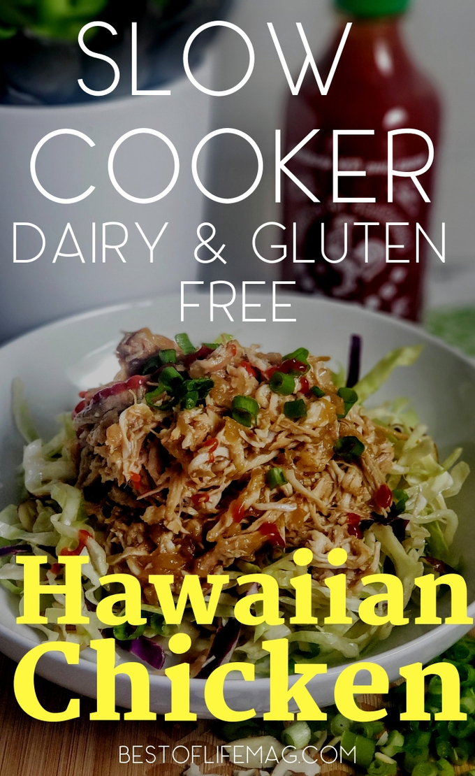 A dairy free and gluten free slow cooker Hawaiian chicken recipe like this one is full of flavor and inspired by Huli Huli Chicken, a local favorite in Hawaii. Dairy Free Recipes | Dairy Free Crock Pot Recipes | Gluten Free Crock Pot Recipes | Gluten Free Recipes | Hawaiian Chicken Recipes | Hawaiian Recipes | Crockpot Recipes with Chicken #dairyfree #crockpotrecipes