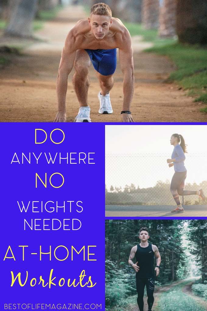 There are no excuses for skipping a workout when you have access to these no weight needed at home workouts that you can do literally anywhere. Fitness Ideas | Workout Ideas | Workout Ideas without Weights | Bodyweight Workouts | Bodyweight Workout Ideas #fitness #health